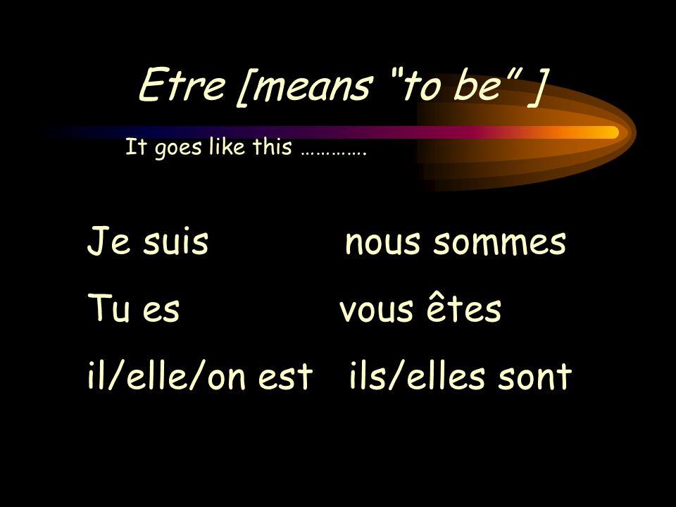 Etre [means to be ] Je suis nous sommes Tu es vous êtes